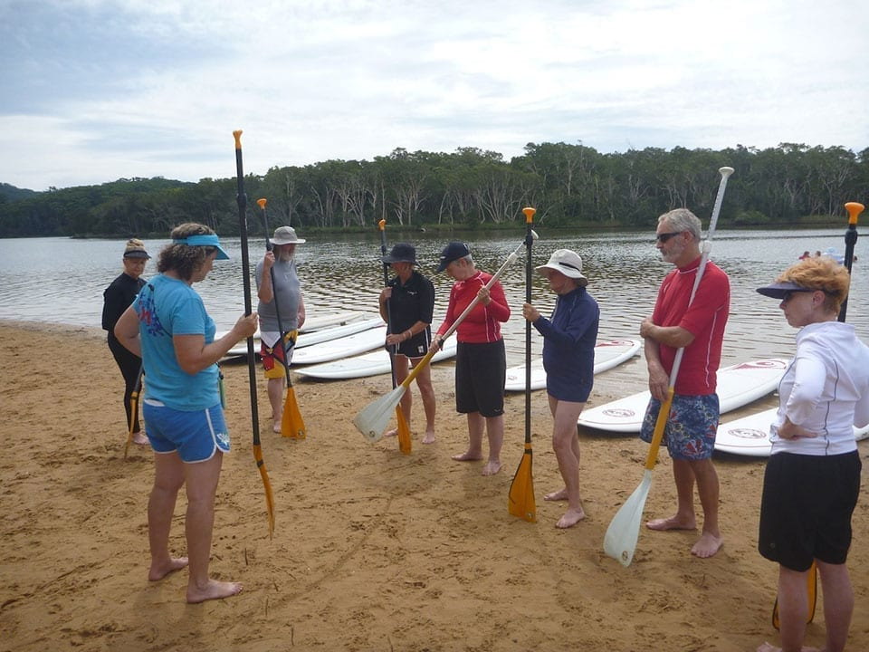 Seniors stand-up paddleboard lessons